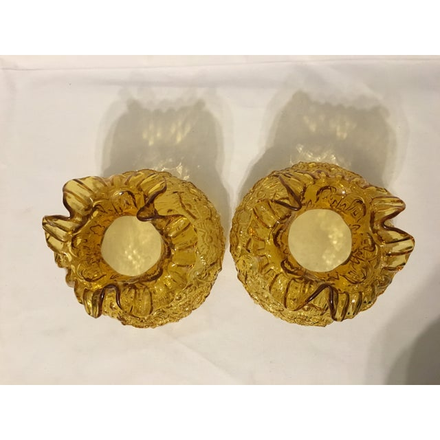 Fenton Amber Poppy Glass Lamp Shades- A Pair - Image 6 of 8