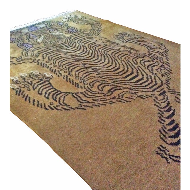 "Hand-Knotted Tibetan Tiger Rug - 4'7"" x 6'7"" - Image 3 of 3"