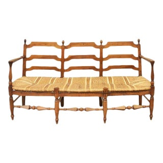 Antique French Triple Chair Back Walnut Settee For Sale