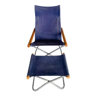 """Mid-Century Modern Takeshi Nii """"ny"""" for Trend Pacific Collapsible Denim Lounge Chair With Ottoman For Sale"""