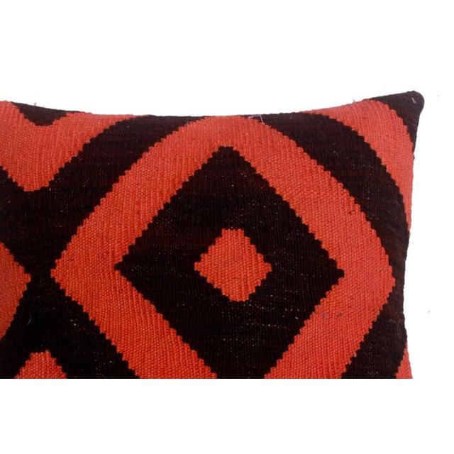 "Asian Diamond Black/Orange Hand-Woven Kilim Throw Pillow(18""x18"") For Sale - Image 3 of 6"