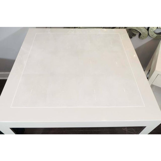 Ivory parchment and water grey shagreen game table with bone inlay trim.