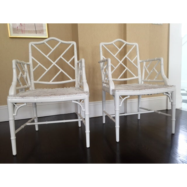 Chippendale Faux Bamboo Chairs - A Pair - Image 2 of 6
