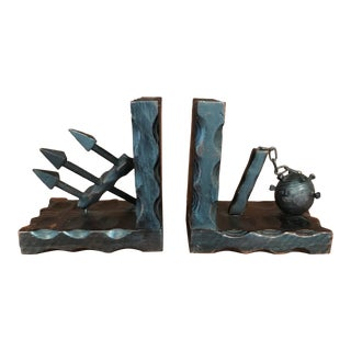 Spanish Colonial Revival Mid Century Modern Wooden Bookends - a Pair For Sale