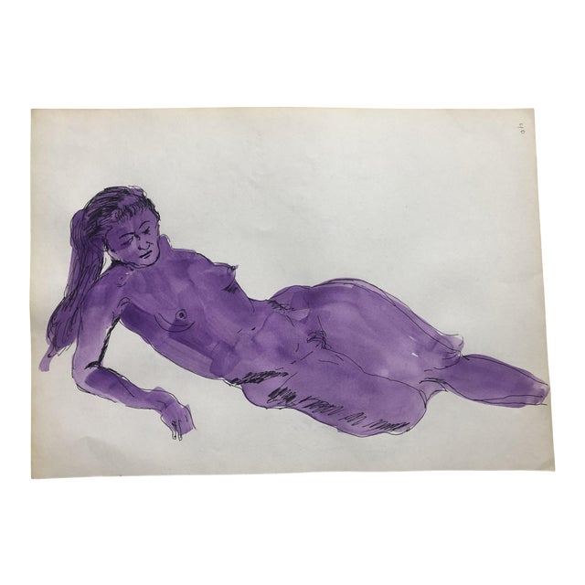 Reclining Purple Female Nude Gouache, 1950s For Sale