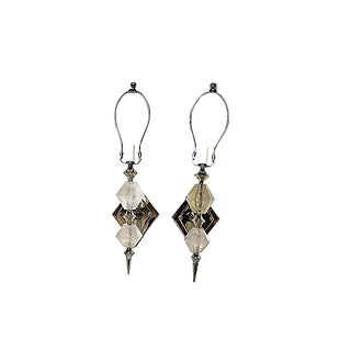 Modern Double Diamond Natural Rock Crystal Sconces - a Pair For Sale