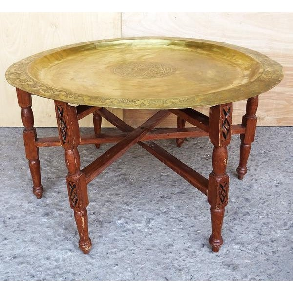 1960s Moroccan Brass Tray Oval Coffee Tea Table - Image 7 of 11