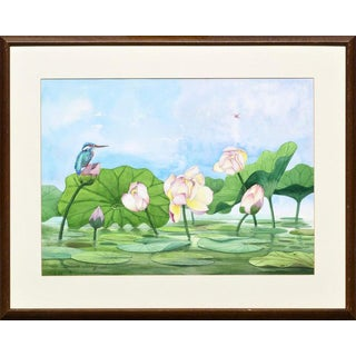 David Wang Bird Perched on Water Lilies Circa 1990 For Sale