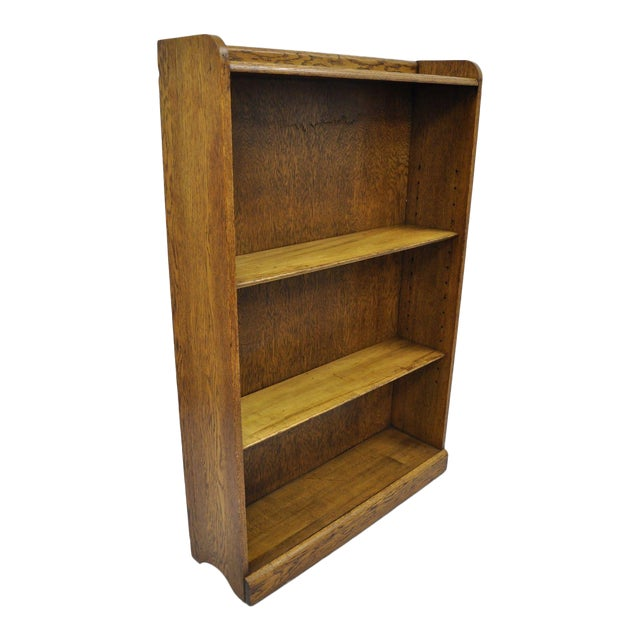 Mid Century Mission/Arts and Crafts Style Oak Two-Shelf Bookcase For Sale