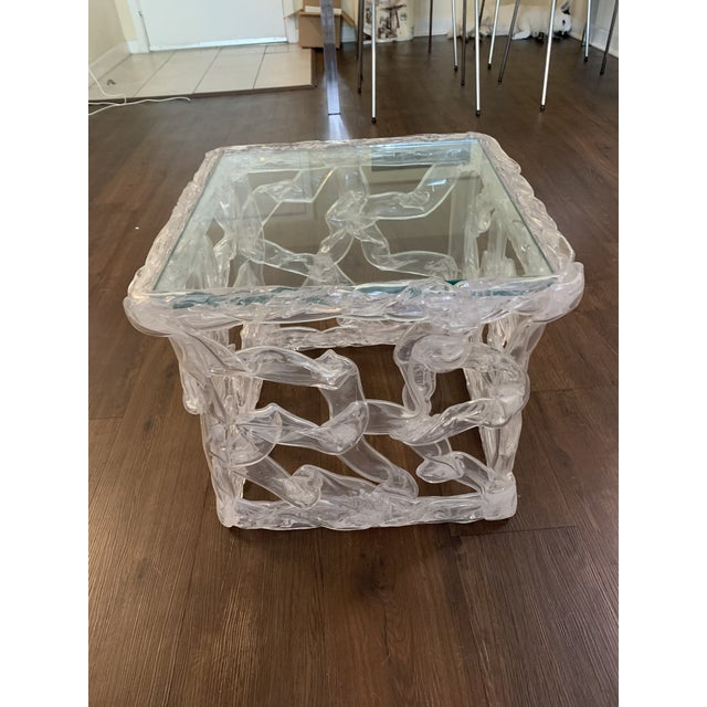 Tony Duquette Acrylic Ribbon End Table For Sale In Miami - Image 6 of 6