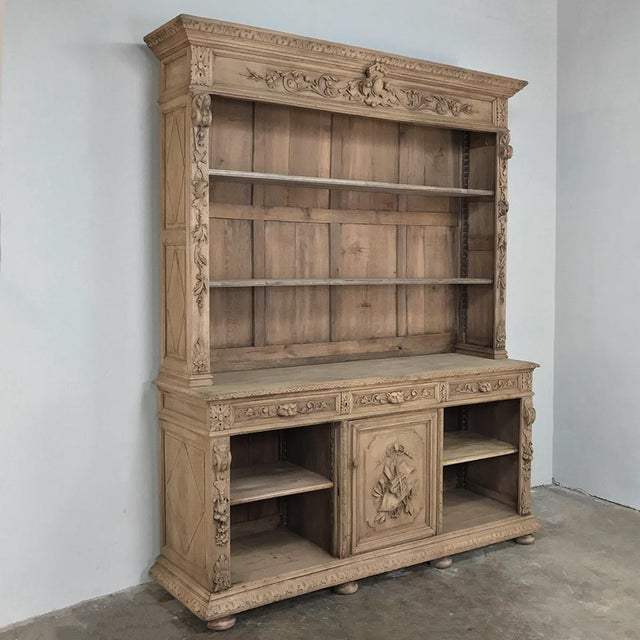Renaissance 19th Century French Renaissance Stripped Oak Bookcase For Sale - Image 3 of 13