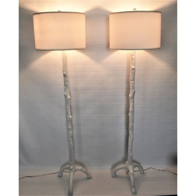 White Faux Bois Floor Lamps Inspired by Serge Roche - a Pair - Image 9 of 11