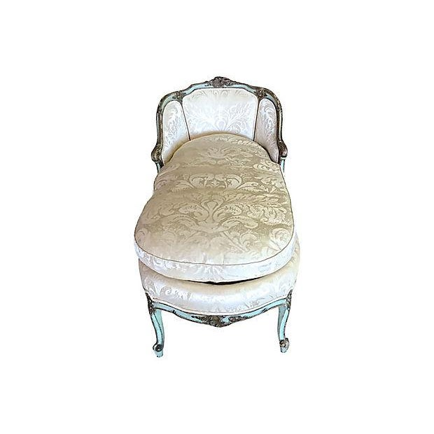 antique louis xv style painted chaise lounge chairish. Black Bedroom Furniture Sets. Home Design Ideas