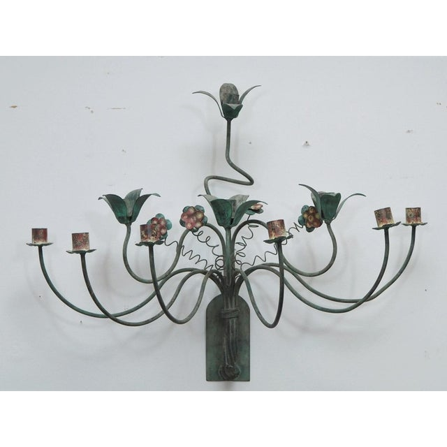 Polychrome Wall Lights with Springy Flowers For Sale - Image 9 of 9