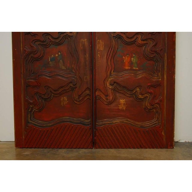 Chinese Carved Temple Courtyard Door Panels - A Pair - Image 7 of 10