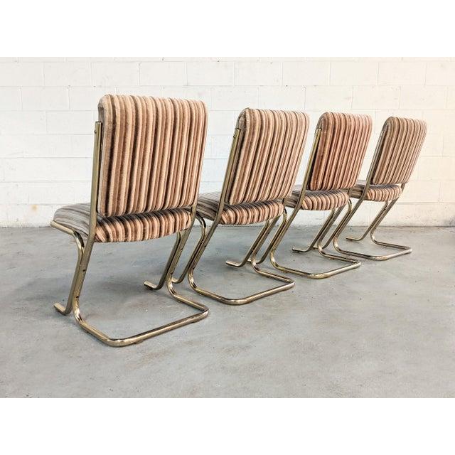 Hollywood Regency 1970s Chromcraft Velvet & Brass Dining Chairs- Set of 4 For Sale - Image 3 of 12