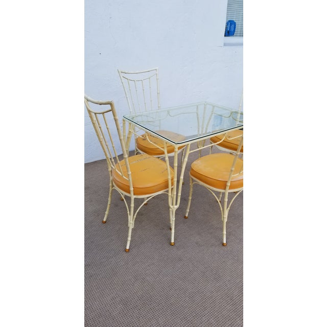 1960s Vintage Brown Jordan Calcuta Faux Bamboo Aluminum Outdoor Dining- Set of 5 For Sale - Image 4 of 13