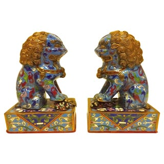 Cloisonné Foo Dogs - A Pair For Sale