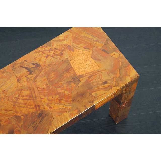 1970s Brutalist Copper Patchwork Console Table For Sale - Image 10 of 11