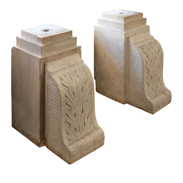 Pair of Chiseled Stone Corbels For Sale - Image 4 of 5
