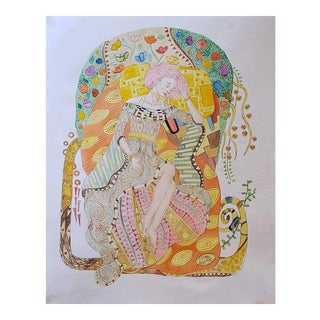Gustav Klimt Watercolor Painting For Sale