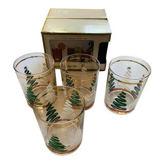 Culver Squiggle Christmas Tree Glasses Barware - New in Original Box - Set 4 For Sale