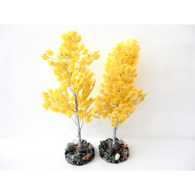Yellow Quartz & Semi Precious Stone Trees - Pair - Image 3 of 8