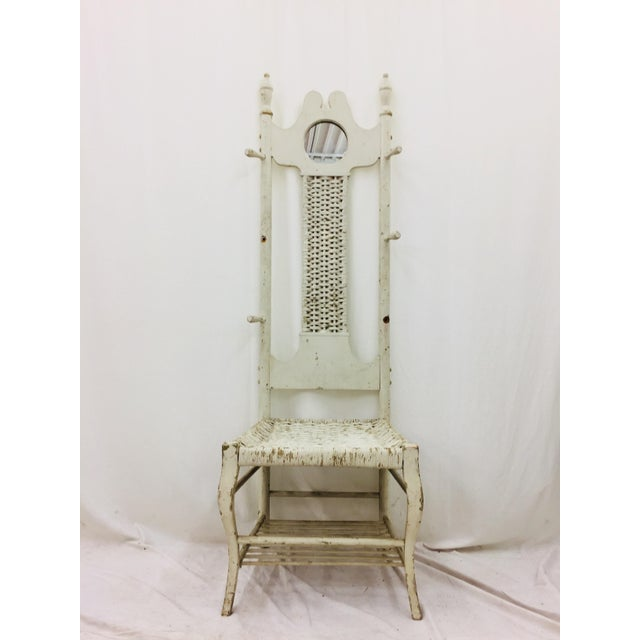 Stunning Antique Victorian Era Handcrafted Hat Rack Hall Chair. Made of Solid Wood with Woven Rush Seat. Solid and sturdy,...