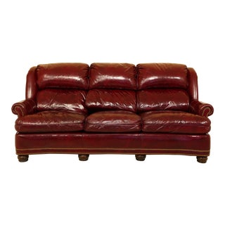 Hancock & Moore Burgundy Leather Tack Head Trim Sofa For Sale