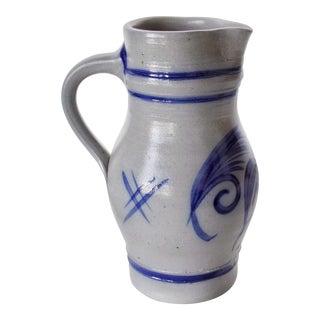 Alsace Pottery French Betschdorf Salt Glazed Pitcher Jug For Sale