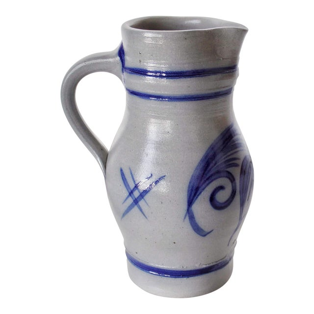 Alsace Pottery French Betschdorf Salt Glazed Pitcher Jug For Sale