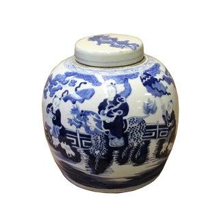 Chinese Vintage Finish Blue & White Porcelain Large Ginger Jar For Sale