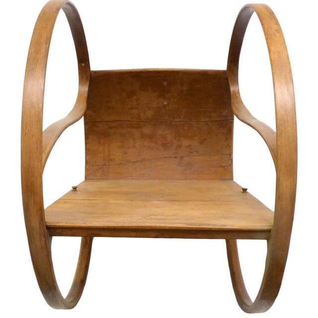 Art Nouveau Bent Sandalwood Rocker For Sale - Image 4 of 5