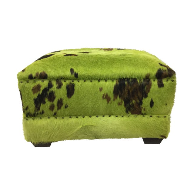 Lime Green Cowhide Ottoman For Sale