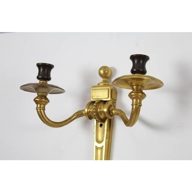 Antique Gilt Bronze Wall Sconces- A Pair For Sale In Greensboro - Image 6 of 6