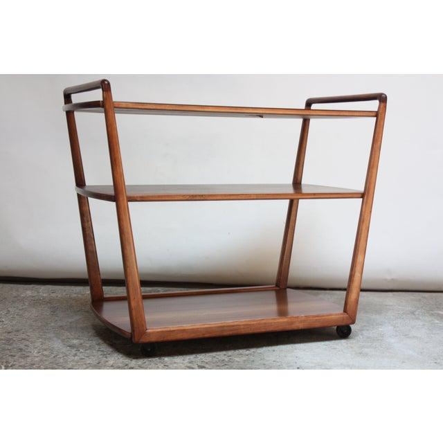 Mid-Century Modern American Modern Walnut Three-Tier Rolling Bar / Tea Cart With Ebonized Surface For Sale - Image 3 of 13
