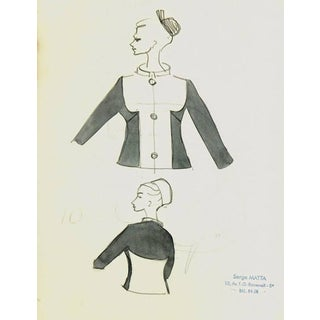 Serge Matta, Vintage French Fashion Sketch - Two Tone Dress Jacket For Sale