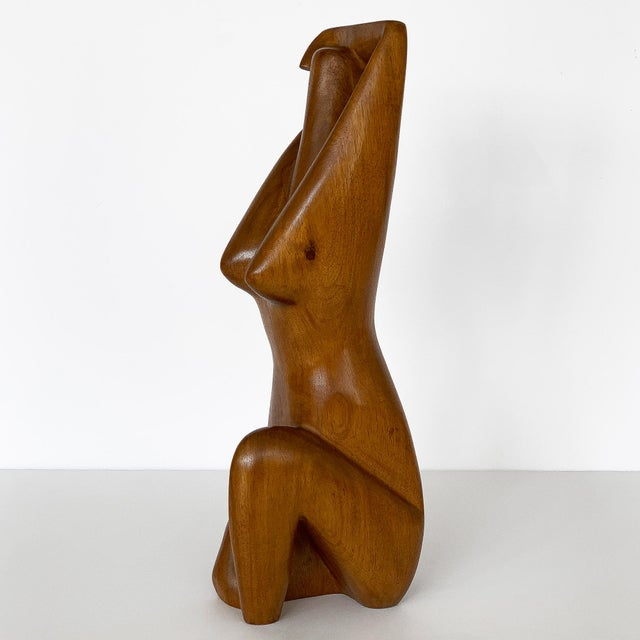 Abstract G. Lynch Carved Solid Wood Nude Abstract Sculpture For Sale - Image 3 of 13