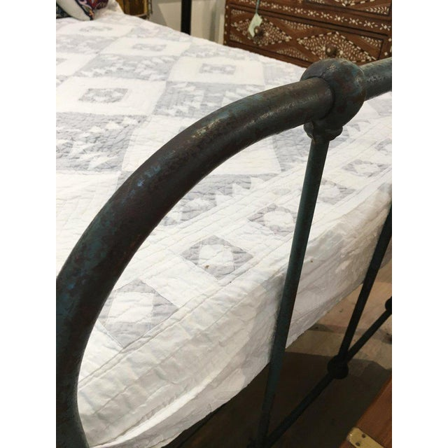 Metal Iron Twin Bed With Original Blue Paint, 1930s For Sale - Image 7 of 10