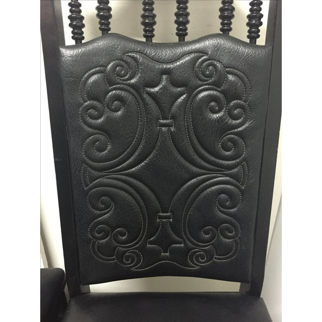 Black Mexican Leather Chairs - A Pair - Image 6 of 6