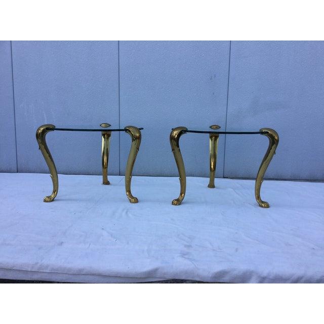 1970's Modern Tripod Brass Side Tables - 2 - Image 3 of 11