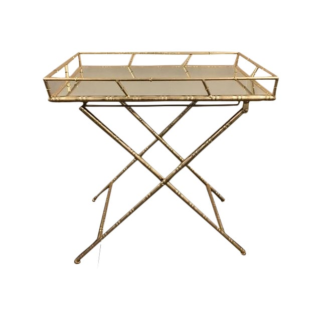 Gold Folding Side Table - Image 1 of 5