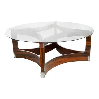 L'Atelier Brazilian Jacaranda and Glass Round Coffee Table For Sale