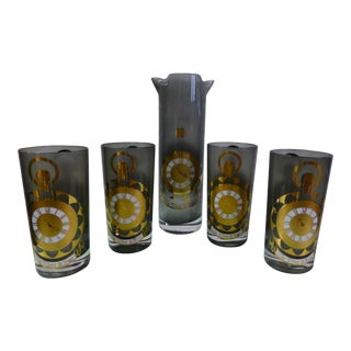 Culver Highball Glasses & Martini Pitcher 'The Works - the Time Is Now' - Set of 5 For Sale