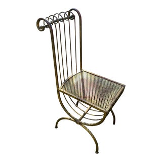 1960s Mid-Century Iron Gold Gilt French Empire Campaign Style Chair For Sale