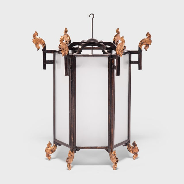 Wood 19th Century Chinese Lantern With Gilt Lotus Finials For Sale - Image 7 of 7