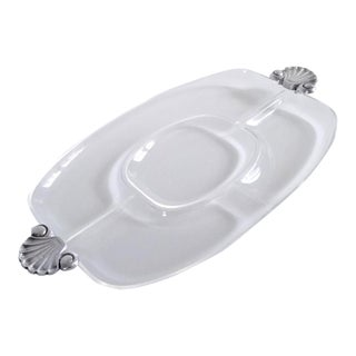 1980s Italian Segmented Lucite Tray With Shell Handles For Sale