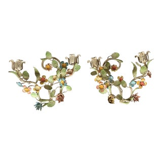 Vintage Italian Tole Wall Sconces Candleholders For Sale