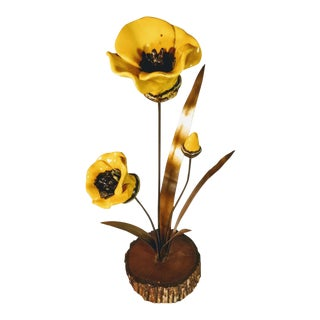 Vintage California Winifred Cole Copper Wood Enamel Yellow Poppies Poppy Figurine For Sale