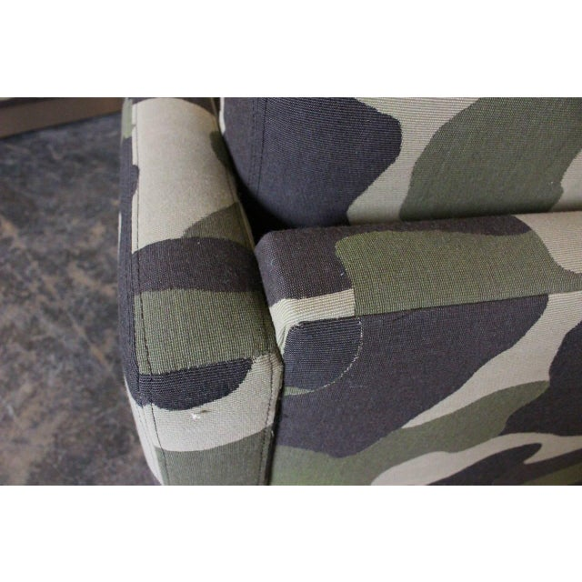 Camouflage Cube Chairs With Bronze Plith - Pair - Image 8 of 8